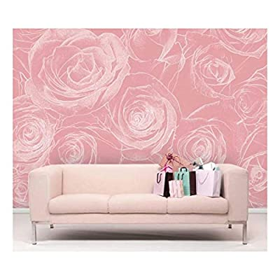 Original Creation, Unbelievable Visual, White Rose Pattern on a Soft Pink Background Pastel Wall Mural
