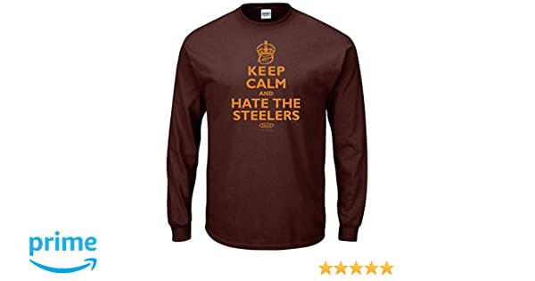 d37cd8a9 Amazon.com : Smack Apparel Cleveland Football Fans. Keep Calm and Hate The  Steelers Brown T-Shirt (S-5X) : Clothing