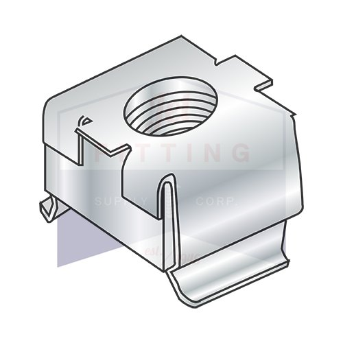 3/8-16 093-126 Cage Nuts | Free Floating Square Nut within a Spring Steel Cage | Square Nut: Low Carbon Steel | Cage: Treated Spring Steel Zinc Plated | C7931-632-3 (QUANTITY: 1000)