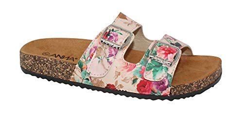 Womens Light Weight Cork Platform Double Buckles Slide Sandal, Floral, - Buckle Footwear
