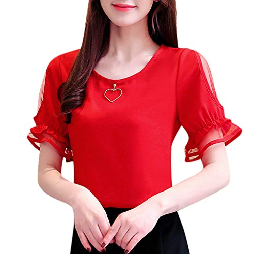 Blouse Top Flare - Ximandi Women's Elegant Flare Short Sleeve O-Neck Cold Shoulder Solid Blouse Shirt Casual Korean Style Tops Red