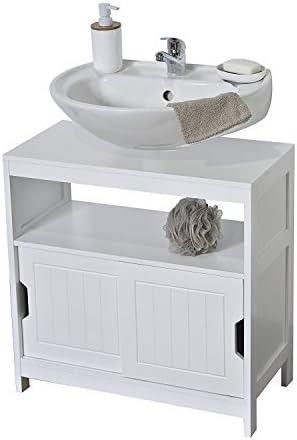 Mueble Debajo del lavabo o fregadero - 2 Puertas correderas + 1 estante + 1 nicho - Estilo moderno - Color BLANCO: Amazon.es: Hogar