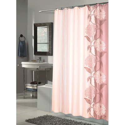 Carnation Home Fashions Chelsea Extra Long Printed Fabric Shower Curtain, 72-Inch by 84-Inch