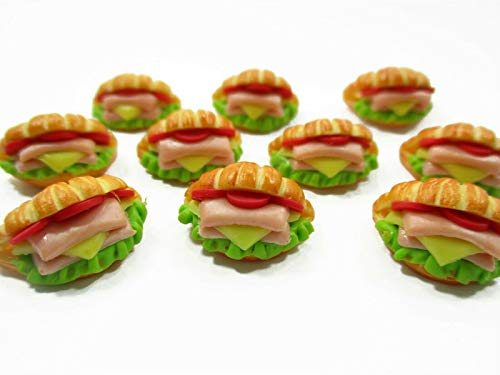Miniature Croissant Ham Cheese Burger Bakery Supply Dollhouse Food Lot 10 (Best Cheese For Ham And Cheese Croissant)