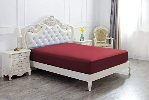 The Great American Store Cal King Fitted Sheet only, Sold Separately 100% Egyptian Cotton 600 Thread Count Extra Deep Pocket Guarantee (Burgundy)