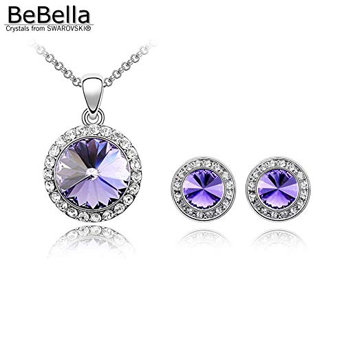 (Round Crystal Necklace Stud Earrings | Fashion Jewelry Set | Crystals Women Jewelry (5 Colors))