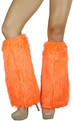 (ToBeInStyle Women's Faux Fur Knee Hi Leg Warmer (Neon)