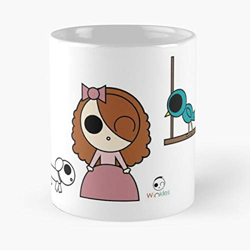 Winkles Wink Bird Dog - 11oz Novetly Ceramic Cups, Unique Birthday And Holiday Gifts For Mom Mother Wife Women.
