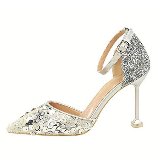 Xue Qiqi Plateado zapatos de tacón con punta fina chica salvaje hueco sandalias de correa ranurada Silver