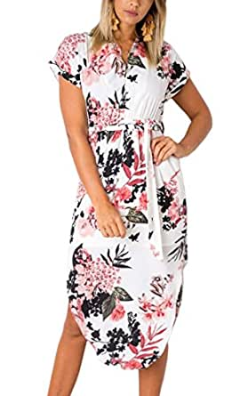 ECOWISH Womens Dresses Summer Casual V-Neck Floral Print Geometric Pattern Belted Dress White New L