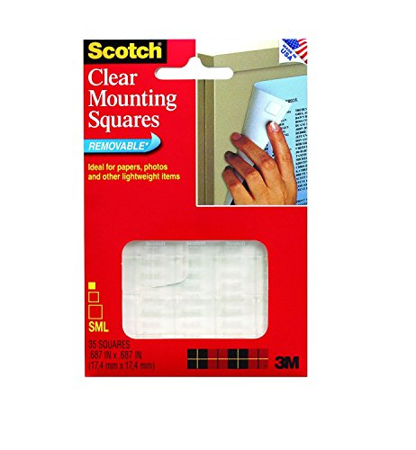 (3M Scotch Mounting Squares, Clear, .68-Inch by .68-Inch, 35 squares, 6-PACK)