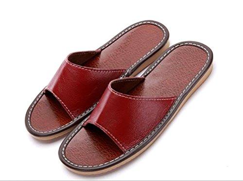 TY fashion Unisex Damen Herren Klassiche Slip On Flat Rindleder Pantoffel Dunkel Rot
