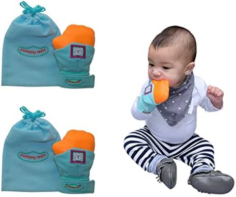 Yummy Mitt Teething Mitten-Self-Soothing Entertainment and Gives Pain Relief from Teething Plus It's an Ideal Baby Shower Gift -Set of Two (2 Blue Yummy Mitt)