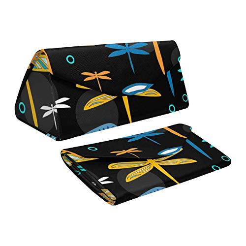 InterestPrint Colorful Dragonflies Eyeglass Cases Glasses Case Hard Shell Foldable Portable