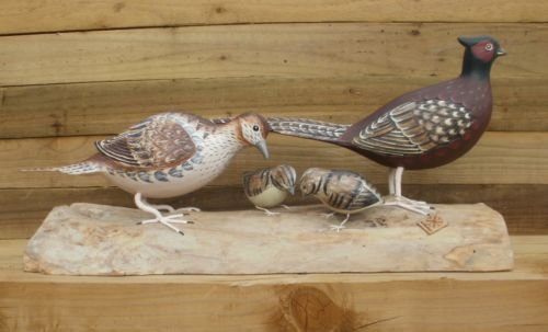 Archipelago Wood Carving Of Family Of Pheasants Game Birds Country Gifts