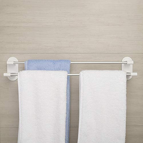 - Happy-Life 3M Self Adhesive 20 inch Bath Towel Rack,Bath Towel Racks for Bathroom Wall Mount,Stick on Wall Bath Towel Holder,No Drilling Rail Rack for Kitchen and Bathroom