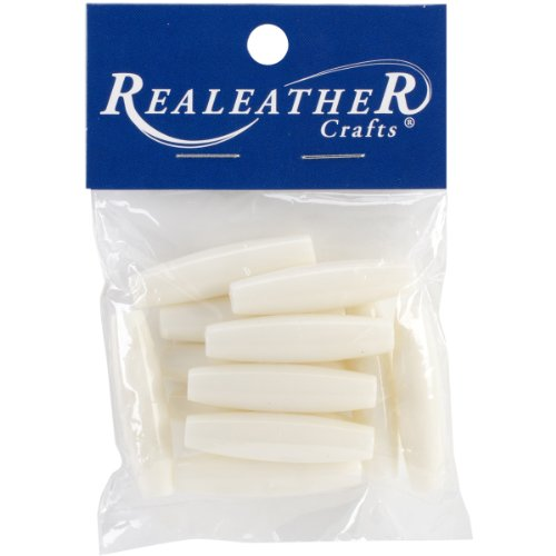 (Realeather Crafts BBB15012 Imitation Bone Beads, 37mm, White, 12-Pack )