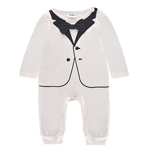 Baby Boys Romper Clothing 1-Piece Tuxedo Jumpsuit & Bowtie Suit Kids Outfit (Baby Santa Outfit For Boy)