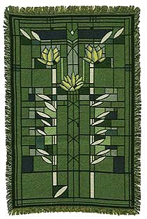 Frank Lloyd Wright Waterlilies Water Lilies Cotton Tapestry Throw Blanket