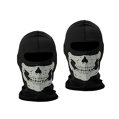 Halloween Skull Face Masks – ZL Skeleton Mask Half Face Balaclava Full Face Skull Mask for Halloween Cosplay Party Out Riding Motorcycle Bike Cycling, 3 Pieces