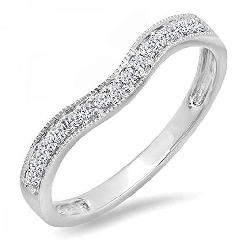 0.15 Carat (ctw) 14K White Gold Round Diamond Ladies Anniversary Wedding Band Guard Ring (Size 7) (Guard Band Ring)