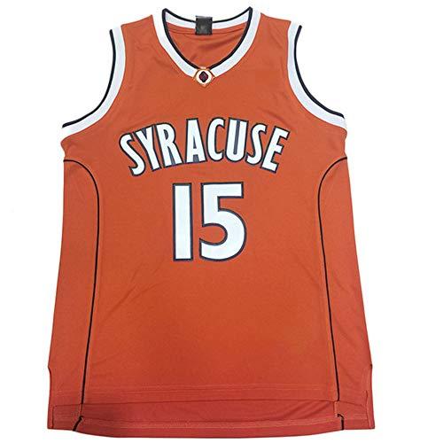 Syracuse Collegiate #15 Men's Classic Retro Embroidery Orange Basketball Jersey - -