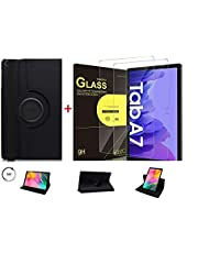 Capa Case Giratória Premium Preta para Tablet Samsung Galaxy Tab A7 10.4 T500 T505 + Película de Vidro 9H - (C7COMPANY)