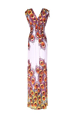 Tie Orange Dress amp; Maxi Peacock Dye White 2LUV Antique 1 Women's Sleeveless Print Paisley EvWWaqp