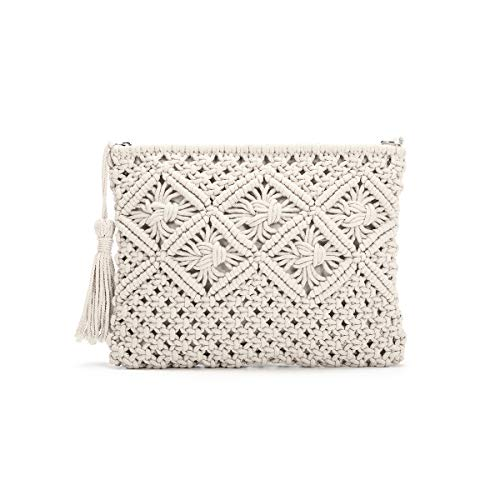 JOSEKO Clutch Purses for Women, Tassel Straw Handbag Vintage Handwoven Bag Summer Beach Bag White 11.02'' x 7.9''(LxH)
