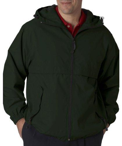 Ultra Club Adult Microfiber Hooded Zip-Front Jacket, M, Forest Green Fleece Microfiber Sweater