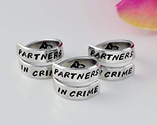 PARTNER IN CRIME - Hand Stamped Spiral Wrap Rings Set of 3, Handcuff Symbol, Sorority Sisters Best Friends BFF Besties Friendship Gift, ...