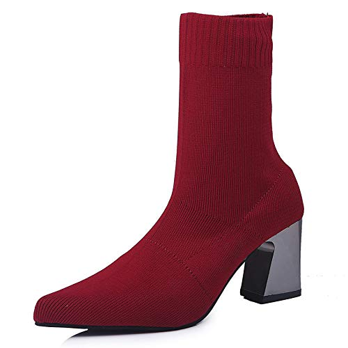 Fashion Mujer Rojo Martin And Winter Soles Boots Autumn Leather Heel Lianaii High Botas De Rubber fEUP6