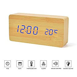 Desk Clock---FiBiSonic Wood Clock Yellow&Blue Digital Clock Alarm Clock for Kids Voice/Touch Control Desk Silent Modern Style Snooze Alarm Clock with Thermometer