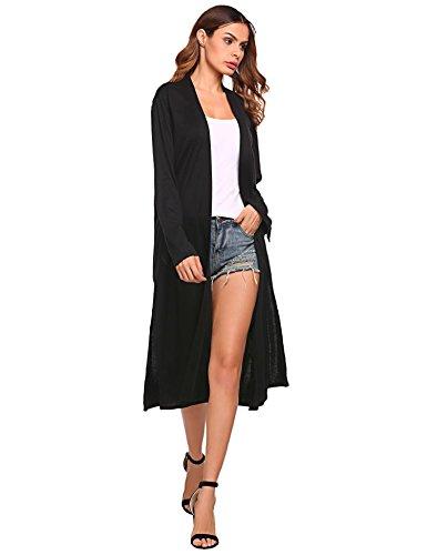 Long Black Sweater Coat - 5