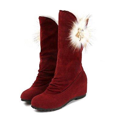 EU36 Negro Botas Botas Confort Moda Ocasionales De Ronda 5 Pu Toe RTRY Invierno Nubuck Para Zapatos De UK3 De Mujer Vino 5 US5 CN35 Marrón Cuero fPpqB