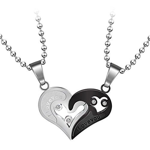 Aola Broken Heart I Love You with Diamond Couple Pendant Split Necklaces for Boyfriends Girlfriends Lovers Valentine's Gift Jewelry (Best Friends Split Pendant)