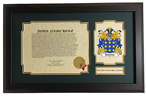 Rotondo - Coat of Arms and Last Name History, 14x22 Inches Matted and Framed