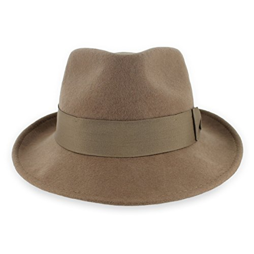 Belfry Gangster 100% Wool Stain-Resistant Crushable Dress Fedora in 4 Colors (Large, Pecan) ()