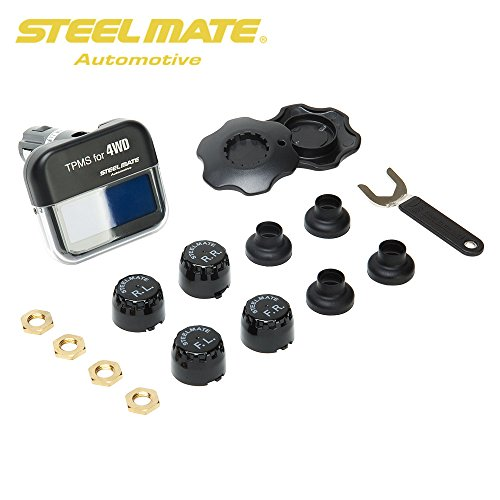 STEELMATE TP-03S TPMS Tire Pressure Monitoring System with Adjustable LCD Display Cigarette Plug 4 Valve-Cap External Sensors Bar PSI Unit