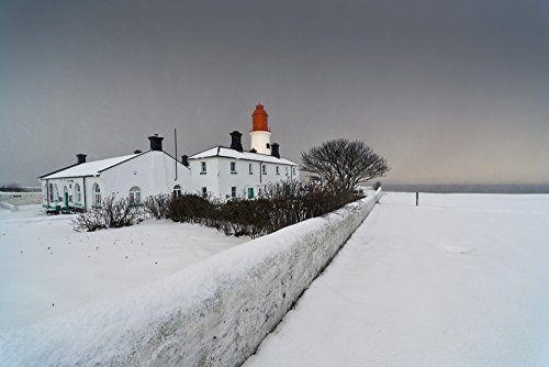(OKSLO A Snow Covered Fence With A Lighthouse And Building In The Background South Shie)