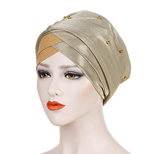 Haluoo Women's Ruffle Turban Hat Soft Stretch Sleep Cap Muslim India Head Scarf Wrap Cancer Chemo Beanie Headwear for Cancer Patient (Yellow)