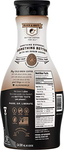 Califia Farms Cold Brew Coffee with Almondmilk, Dairy Free, Plant Milk, Vegan, Non-GMO, Black & White, 48 Oz (Pack of 8)
