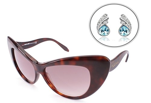 Roberto Cavalli AUTHENTIC Cat Eye Womens Sunglasses Havana Brown with Free Silver Plated Earrings - Gradient Tint, Mirrored Lens, Full Rim - 100% UV Protection 58mm (RC737S (Havana Sweets)