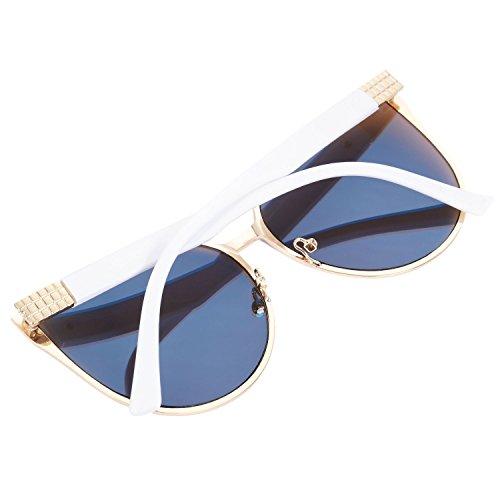 amp; capitulo espejo sol gafas de neutra SODIAL la UV400 Estilo del Verano tamano gato S16080 del gran de ojo moda de vendimia Blue sol grande la Oro oro azul de de Gafas I1qxAnxwHE