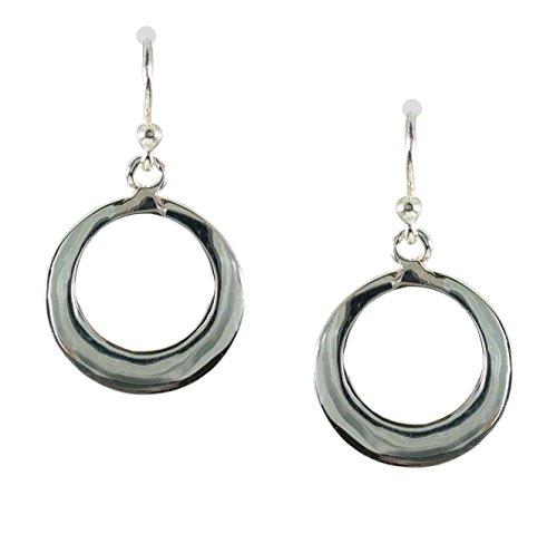 Circle Earrings Sterling Open Silver - Bali Sky Sterling Silver Open Circle Dangle Earrings D067