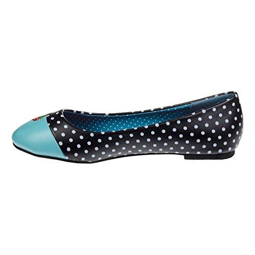 Scarpe Basse Flat Shoes Isabella Banned (Nero/Acquamarina)