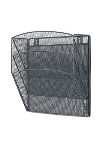 (Klickpick Office Hanging Files Wall Mounted Metal Mesh Document File Organizer Magazine Holder Rack Organizer 3 Tier Section Racks Multipurpose Use to Display Files, Magazine, Newspapers (3t Gray))