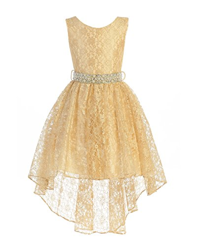 - High Low Lace Dress Rhinestones Belt Pageant Flower Girl Dress Gold Size 8