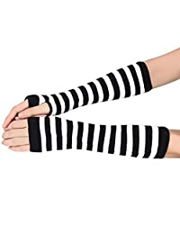 Sunward Women Stripe Knit Fingerless Long Gloves Mitten Arm Wrist Hand Warmer