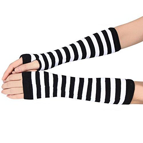 (Sunward Women Stripe Knit Fingerless Long Gloves Mitten Arm Wrist Hand Warmer (White))